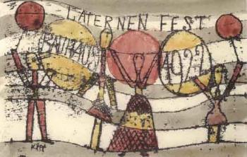 Paul Klee-Laternenfest Bauhaus (Postkarte)-1922