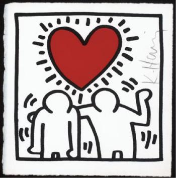 Keith Haring-Keith Haring - Two Figures with red Heart-1987