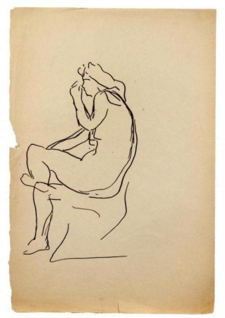 Lucio Fontana-Nudo femminile seduto di profilo-