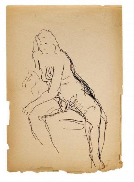 Lucio Fontana-Nudo femminile seduto di fronte-