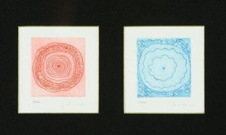 Lucio Fontana-Concetto spaziale rosa/Concetto spaziale blue-