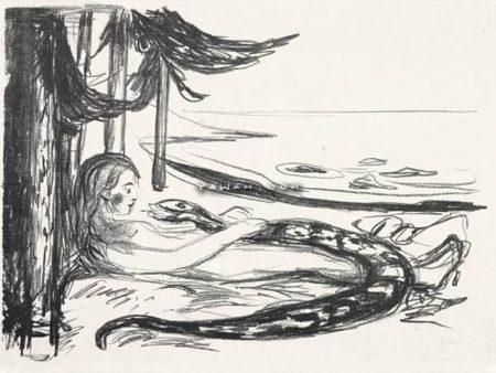 Edvard Munch-Kvinnen og slangen (The Woman and the Snake)-1909