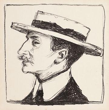Edvard Munch-Goldstein med Hatt / Goldstein with Hat-1909