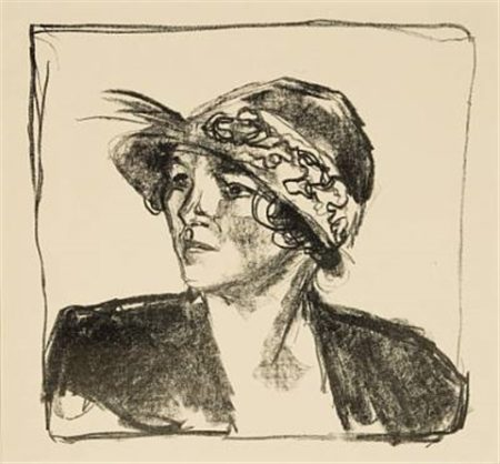 Edvard Munch-Ung kvinne med hatt / Young Woman with Hat-1920