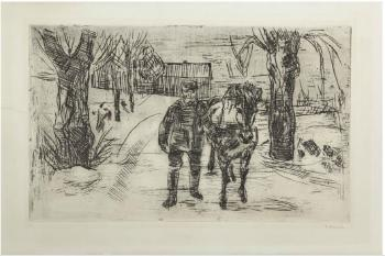 Edvard Munch-Mann med Hest II / Man with Horse II-1915