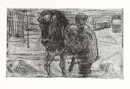 Edvard Munch-Mann med Hest I / Man with Horse (Woll nr. 496 I)-1915
