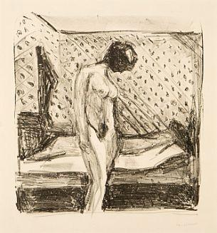 Edvard Munch-Gratende Ung Kvinne ved Sengen / Weeping young woman by the bed / Nackte junge Frau in einem Zimmer (W. 713)-1930