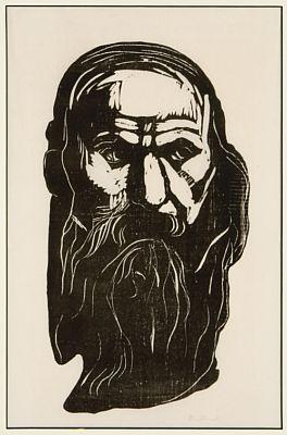 Edvard Munch-Hode av gammel mann med skjegg / Head of an Old Man with Beard-1902