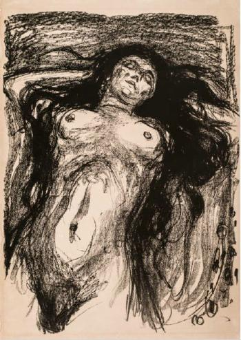 Edvard Munch-Liegende Frau mit Aufgelostem Haar / Reclining Woman with Hair Loose / Liggende Kvinne med Utslatt Har / Woman With Long Hair, Reclining (W. 716)-1930
