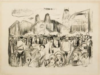 Edvard Munch-Frankfurter Bahnhofsplatz under Rathenaus likferd (Frankfurter Bahnplatz during Rathenau's Funeral)-1922
