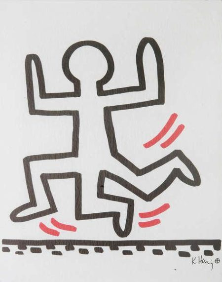 Keith Haring-Keith Haring - 'Running man with three legs'-1982