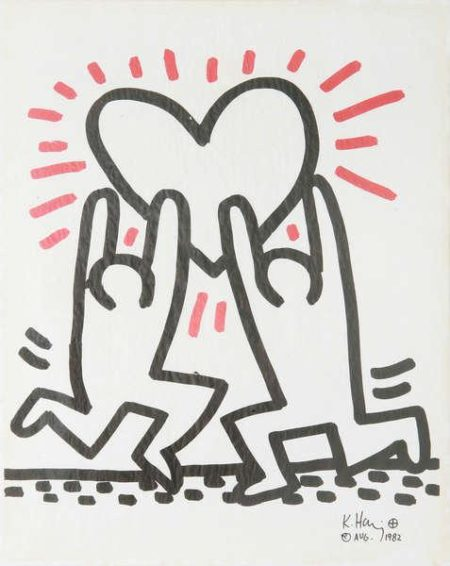 Keith Haring-Keith Haring - 2 Men With Heart-1982