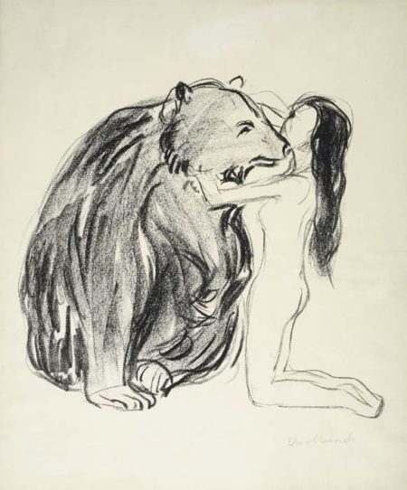 Edvard Munch-Das Weib und der Bar / Kvinnen og Bjornen / The Woman and the Bear / (Woll 362)-1909