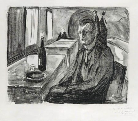 Edvard Munch-Selbstportrait mit Weinflasche / Selbstportrait mit einer Flasche Wein / Self-portrait with a Bottle of Wine / Selvportrett med vinen (Woll 712)-1930