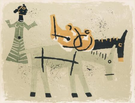 Maqbool Fida Husain-Untitled (Woman with Two Donkeys)-1960