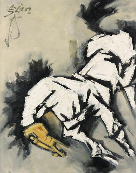 Maqbool Fida Husain-Untitled (Horse)-1960