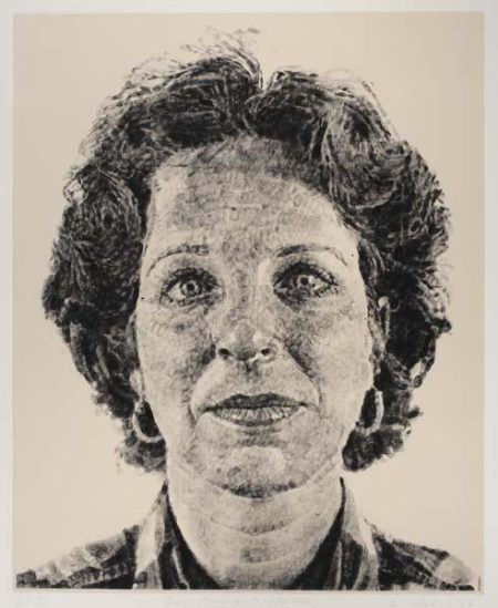 Chuck Close-Leslie Finger Print Silk Colle-1986