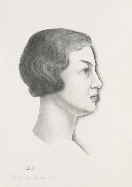 Diego Rivera-Portrait of Emma Dunbar in Profile-1932