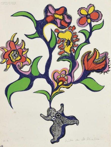 Niki de Saint Phalle-Nana aux fleurs, (Nana bouquet fleur), ( Composition)-1971