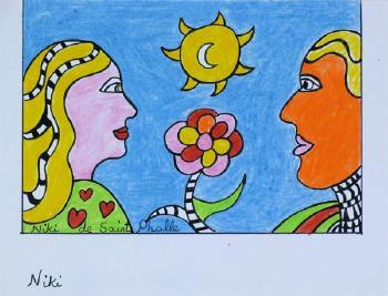 Niki de Saint Phalle-Mann und Frau im Profil, sich unterhaltend-1985