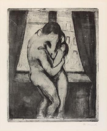 Edvard Munch-Der Kuss / Kyss / The Kiss (Woll 23; Schiefler 22)-1895