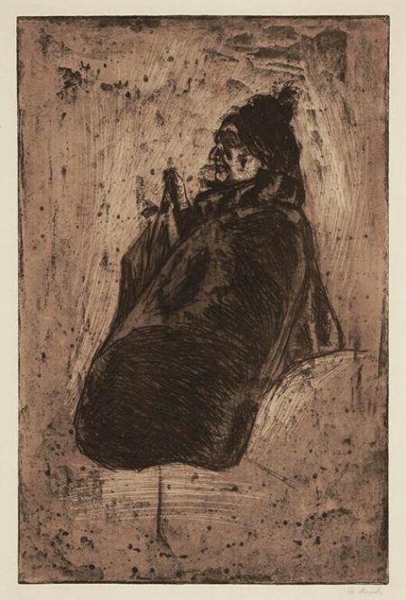 Edvard Munch-Alte Frau mit Schirm (Old Woman with Umbrella)-1902