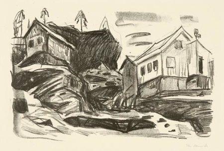 Edvard Munch-Hauser in Kragero / Hus i Kragero / Houses in Kragero-1916