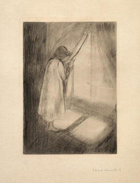 Edvard Munch-Das Madchen im Hemd am Fenster-1894