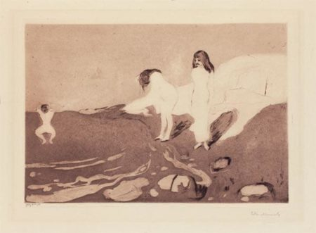 Edvard Munch-Badende Madchen / Badende Frauen / Badende Kvinner / Women Bathing / Girls Bathing (Woll 18 / b / V (v XV.))-1895