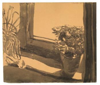 Paul Klee-Astern am Fenster - Ruckseitig: Selbstbildnis-1908