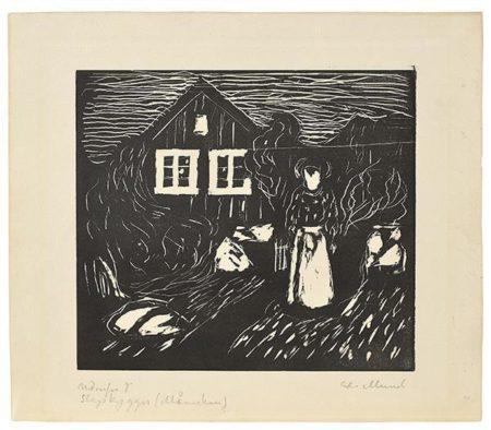 Edvard Munch-Vor dem Haus bei Mondschein-1901