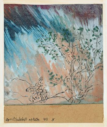 Paul Klee-Aprillandschaft mit Reiter-1913