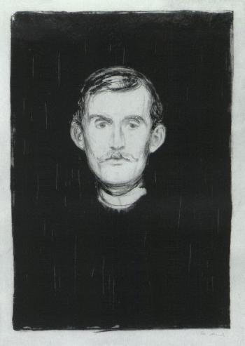 Edvard Munch-Selvportrett / Self-Portrait / Selbstbildnis / Selbstportrat (Woll 37; Schiefler 31)-1895