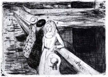 Edvard Munch-Madchen auf der Landungsbrucke in Asgardstrand / Women on landing-stage in Asgardstrand-1903