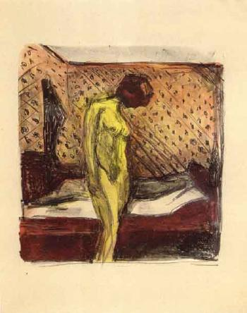 Gratende Ung Kvinne ved Sengen / Weeping young woman by the bed / Nackte junge Frau in einem Zimmer (W. 713)-1930