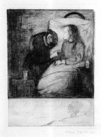 Edvard Munch-Das kranke Kind I / Das kranke Madchen / The Sick Child / The Sick Woman / Det syke barn (Schiefler 7; Woll 7)-1894