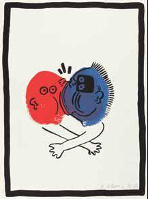 Keith Haring-Keith Haring - Bl. 19 aus der Folge: The story of red + blue-1990