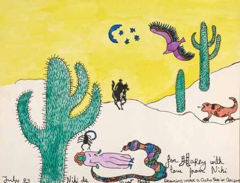 Niki de Saint Phalle-Dreaming under a cactus tree in Arizona-1989