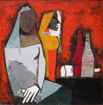 Maqbool Fida Husain-Sisters-1957