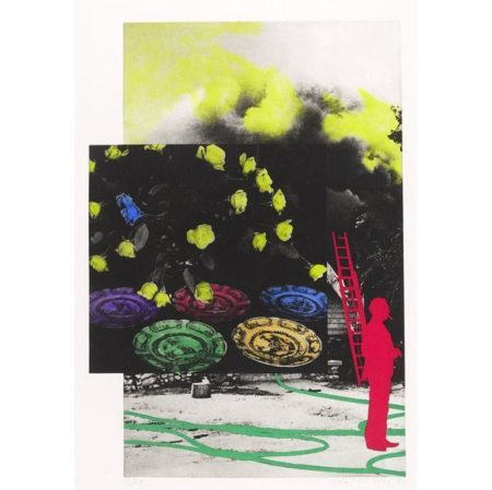 John Baldessari-To Insert: Person and Ladder (Red) / Hose / Smoke: Flowers and Plates (Blue Hope)-1991