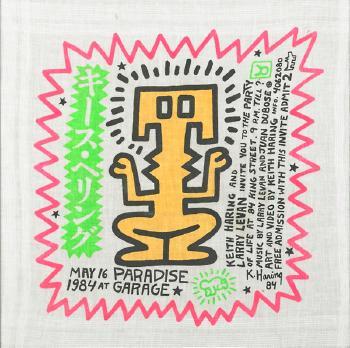 Keith Haring-Keith Haring - Paradise Garage Birthday Invitation Handkerchief-1984