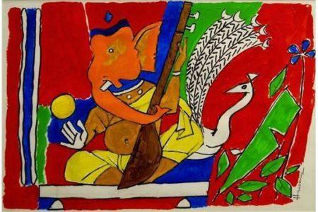 Maqbool Fida Husain-Ganesh-
