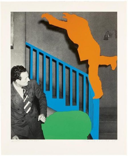John Baldessari-Two Figures: One Leaping (Orange); One Reacting (with Blue and Green)-2005