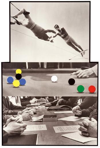 John Baldessari-The Artist's Interpretation of Trusteeship: Trapeze / High Wire Act, Billiard Table and Board Room / Three Moments-1996