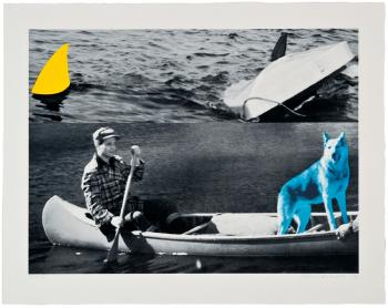 Man, Dog (Blue), Canoe/Shark Fins (One Yellow), Capsized Boat-2002