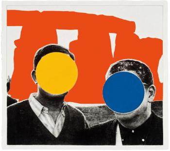 John Baldessari-Stonehenge (with Two Persons), Orange-2005
