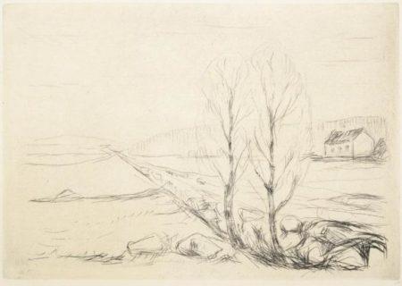 Edvard Munch-Norsk Landskap / Norwegian Landscape / Norwegische Landschaft (Schiefler 268; Woll 298)-1908
