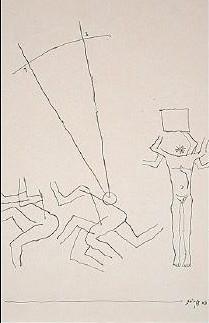 Maqbool Fida Husain-Figures with a triangle-
