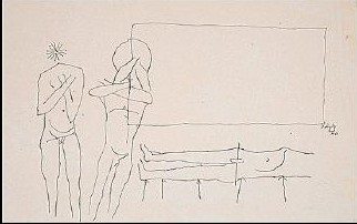 Maqbool Fida Husain-Three Nude Figures-