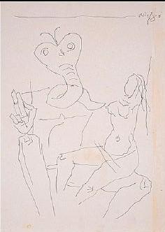 Maqbool Fida Husain-Nude figure with creature-